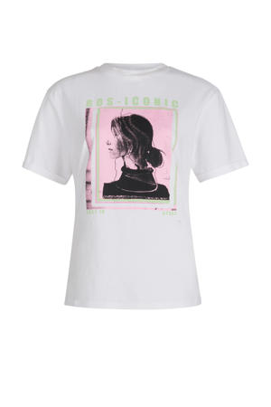 T-shirt Statue met printopdruk wit/roze