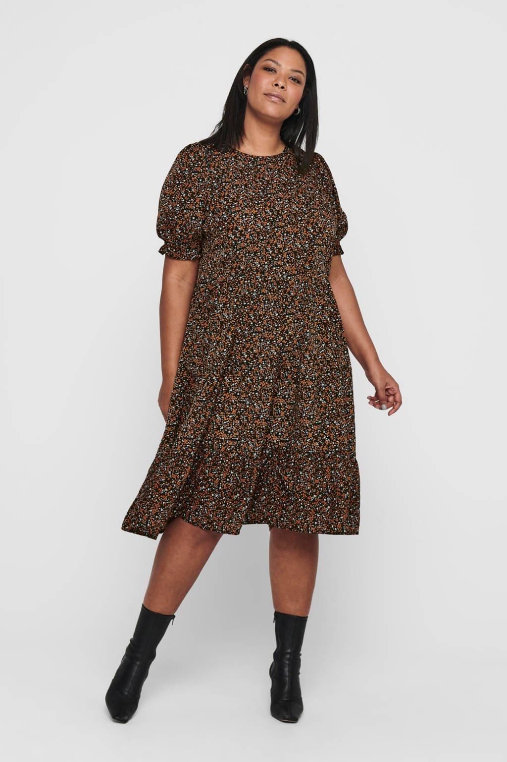 ONLY CARMAKOMA gebloemde jurk CARNORI zwart/oranje/wit, Zwart/oranje/wit