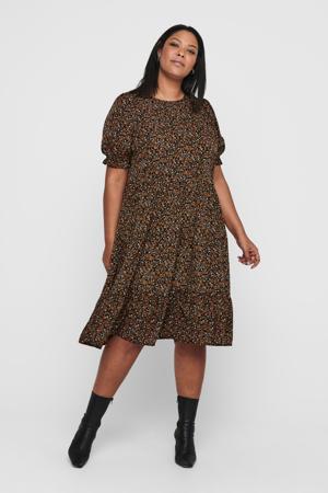 gebloemde jurk CARNORI zwart/oranje/wit