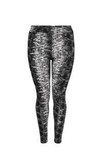 ONLY CARMAKOMA legging met slangenprint zwart/grijs, Zwart/grijs