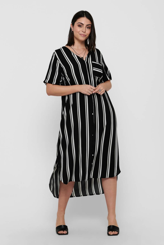 ONLY CARMAKOMA gestreepte jurk CARDENIZIA zwart/wit, Zwart/wit