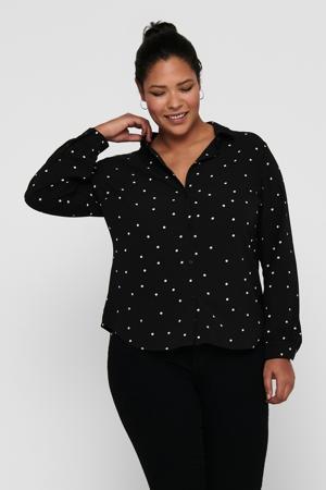 geweven blouse CARLUXMILA met stippen zwart/wit
