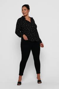 ONLY CARMAKOMA geweven blouse CARLUXMILA met stippen zwart/wit, Zwart/wit