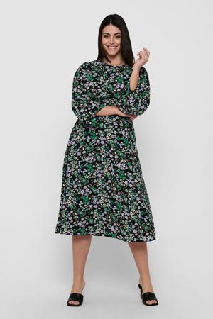 gebloemde jurk CARANEMONY zwart/groen/lila