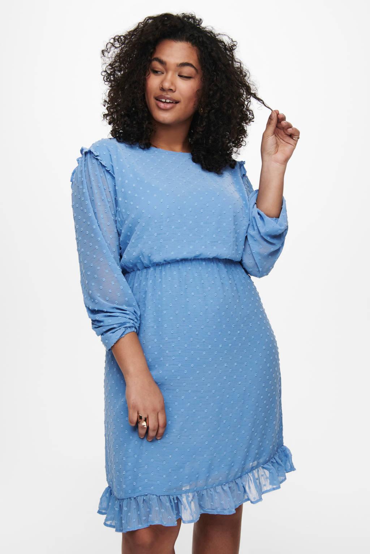 ONLY CARMAKOMA semi-transparante jurk CARMALONE met stippen en ruches lichtblauw, Lichtblauw