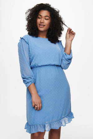 semi-transparante jurk CARMALONE met stippen en ruches lichtblauw
