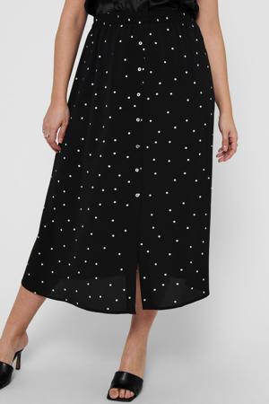 semi-transparante rok CARLUXMILA met stippen en textuur zwart/wit
