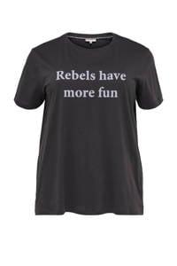 ONLY CARMAKOMA T-shirt CARREBEL met tekst antraciet/lila, Antraciet/lila