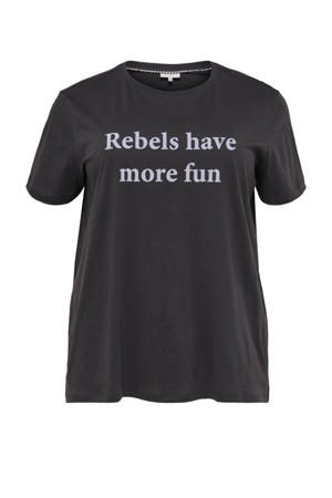 T-shirt CARREBEL met tekst antraciet/lila