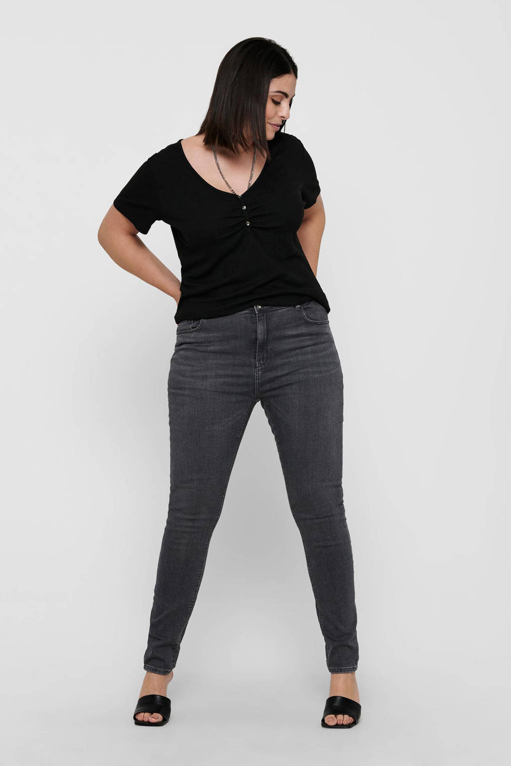 ONLY CARMAKOMA skinny jeans CARLAOLA antraciet, Antraciet