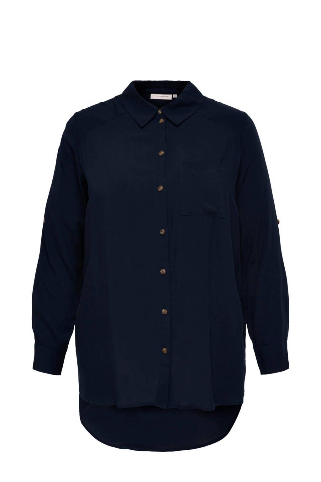 ONLY CARMAKOMA blouse CARDENIZIA donkerblauw, Donkerblauw
