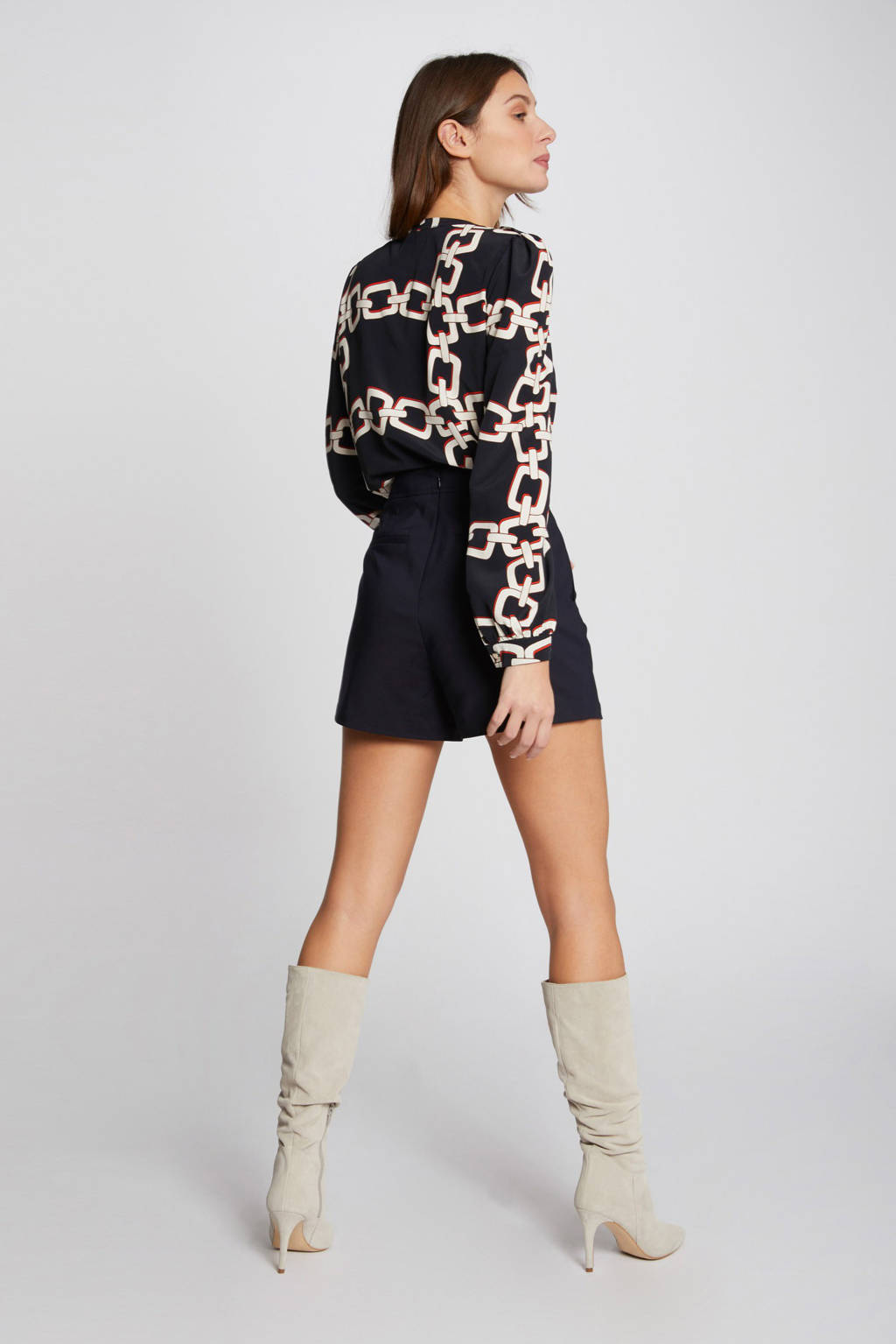 Morgan blouse met all over print en plooien marine, Marine
