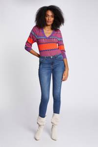 Morgan gebreide trui met all over print en textuur blauw/ oranje, Blauw/ oranje