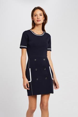 fijngebreide jurk met contrastbies marine