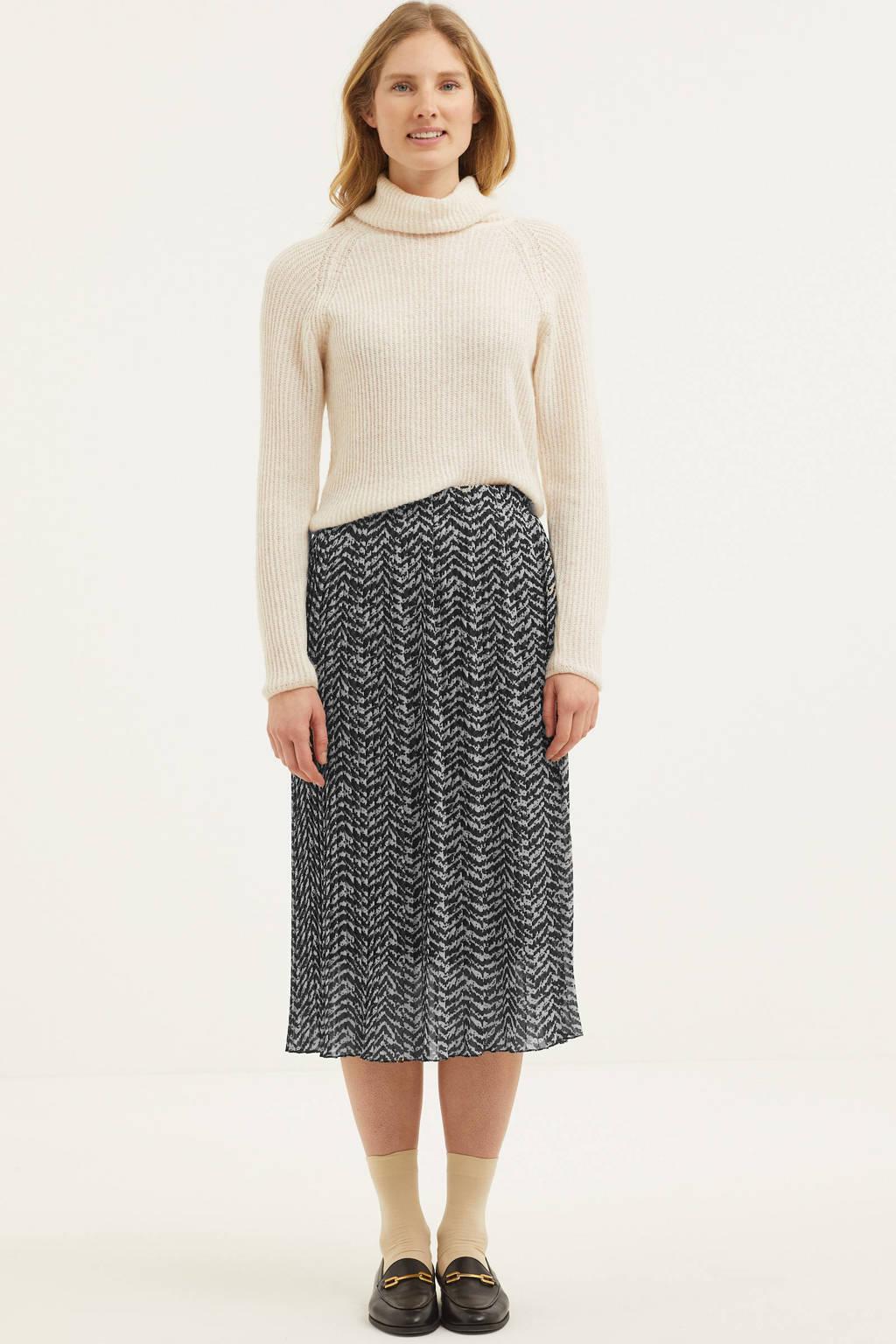 Zabaione semi-transparante rok Mia met all over print zwart/wit, Zwart/wit