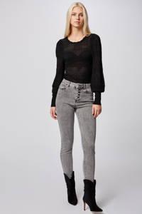 Morgan fijngebreide trui met plooien zwart, Zwart
