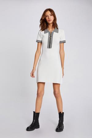 gestreepte fijngebreide jurk met contrastbies ecru