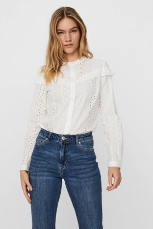 blouse VMNORA met ruches wit