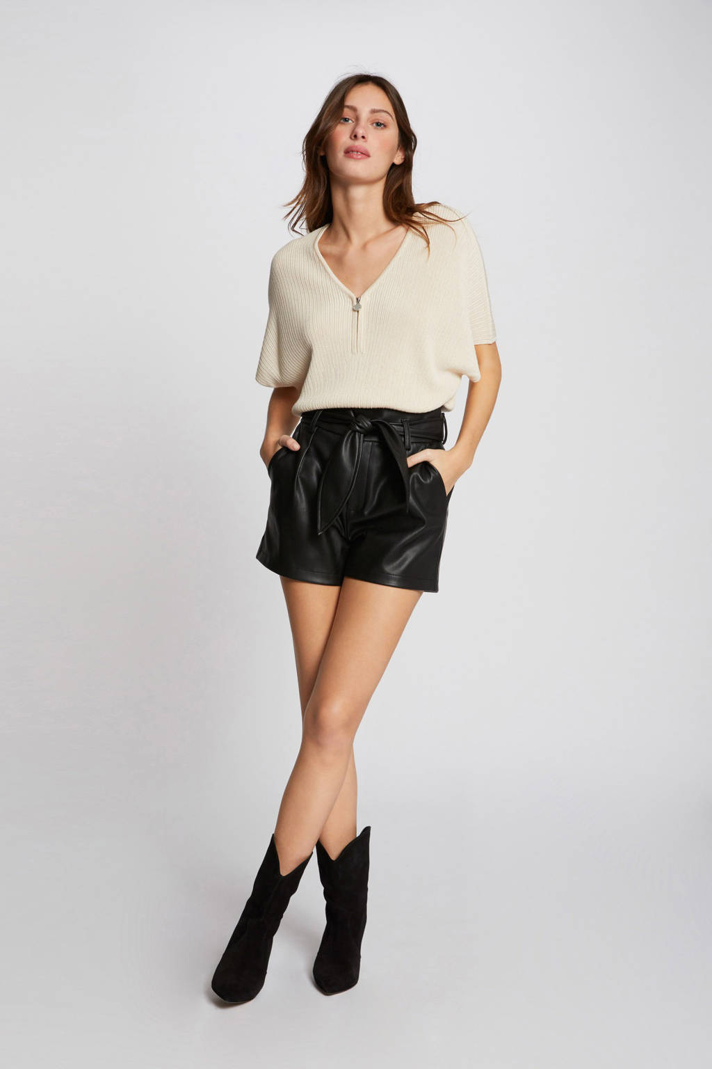 Morgan imitatieleren high waist straight fit short zwart, Zwart
