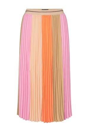 rok Plisse Block Skirt beige/roze/oranje