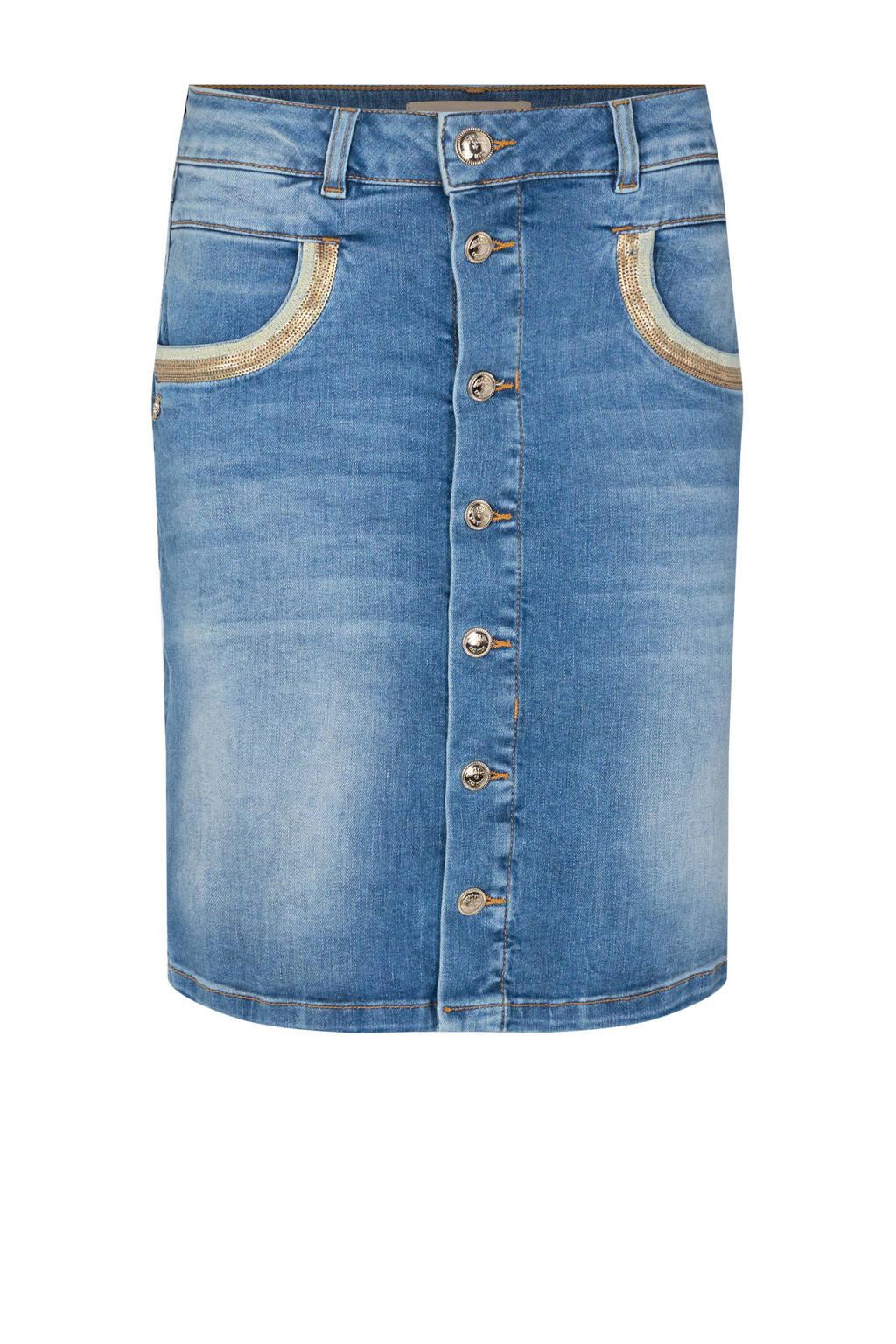 Mos Mosh spijkerrok Vicky Wave Skirt met pailletten, Light blue denim