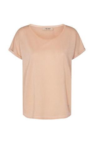 T-shirt Kay  met glitters zalmroze