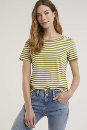 gestreept T-shirt VISUS van biologisch katoen groen