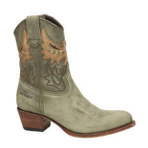 16227 Debora  leren cowboylaarzen groen