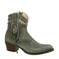 Sendra 14095 Debora  nubuck cowboylaarzen groen, Groen/Kaki