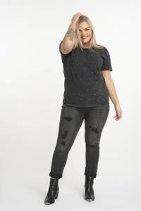 MS Mode T-shirt met sierstenen antraciet, Antraciet
