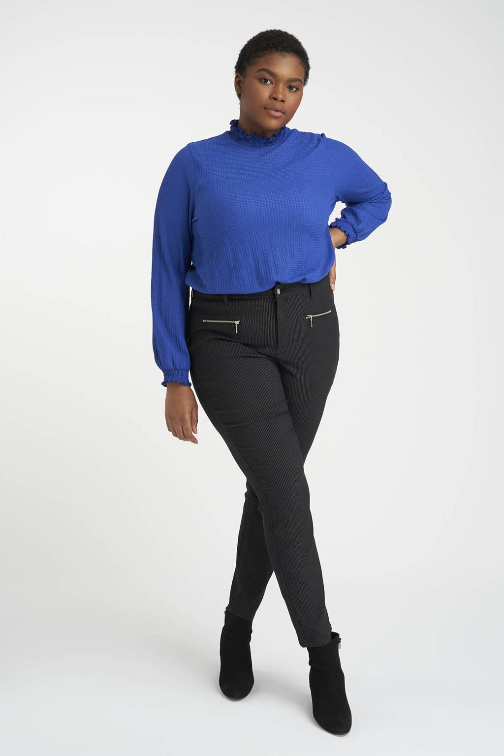 MS Mode gestreepte skinny broek zwart, Zwart