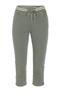 Cassis cropped slim fit broek kaki, Kaki