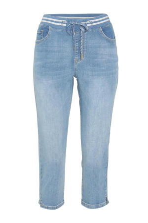 cropped slim fit broek denim clair