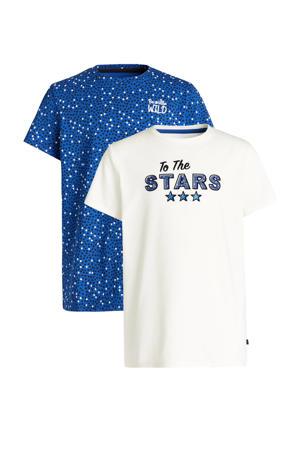 T-shirt - set van 2 wit/blauw