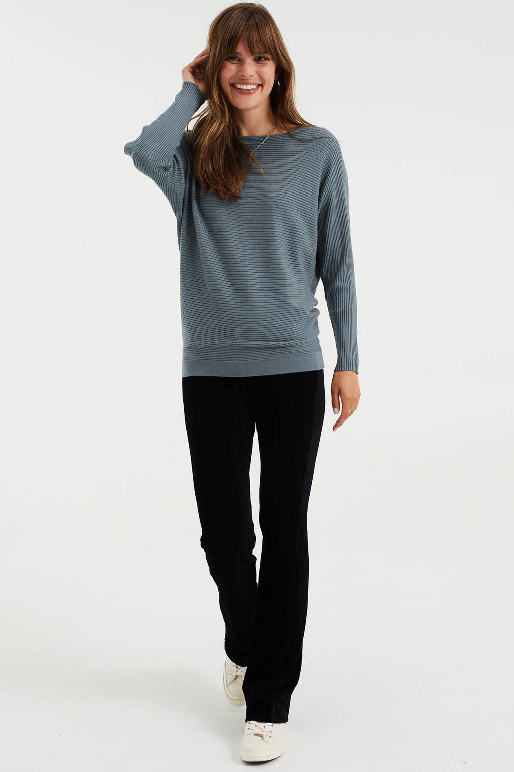 WE Fashion fijngebreide trui grijsblauw, Grijsblauw