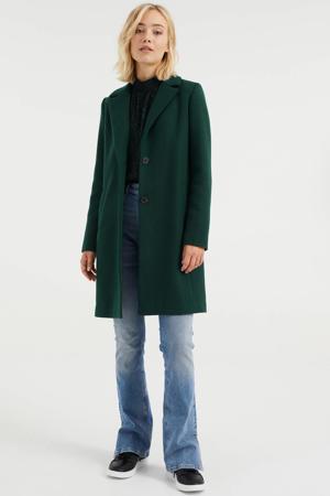 halflange coat met wol donkergroen