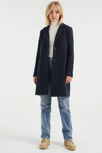WE Fashion halflange coat met wol donkerblauw, Donkerblauw