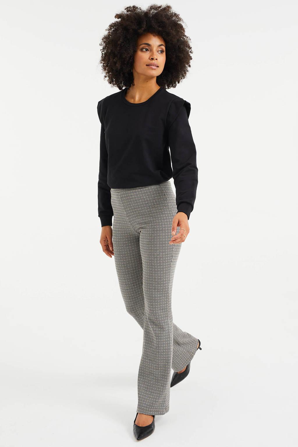WE Fashion geruite flared broek beige, Grijs/zwart