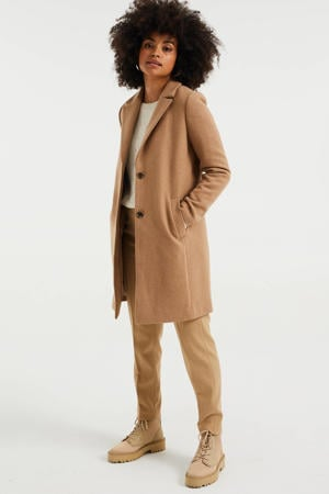 halflange coat met wol camel melange