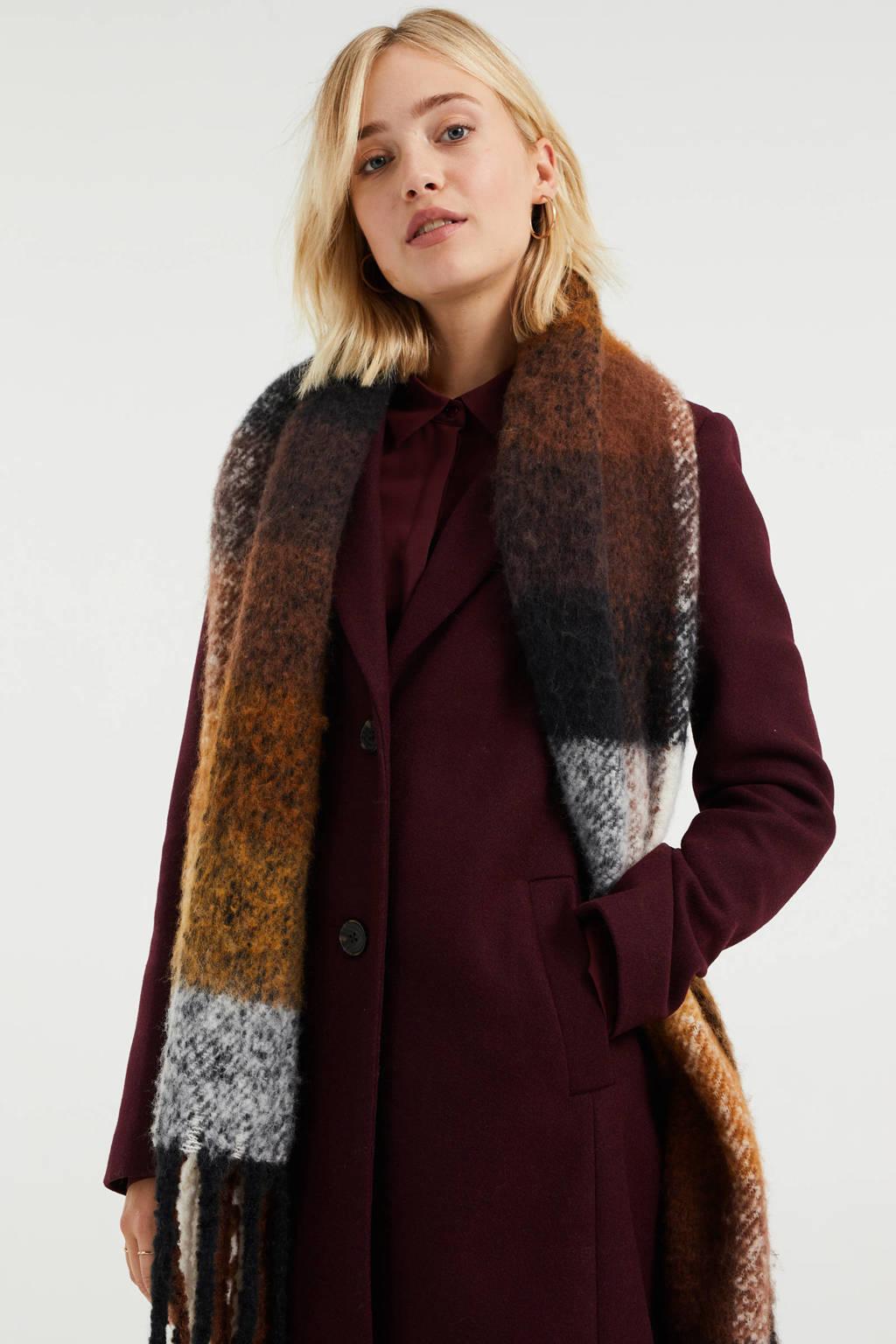 WE Fashion halflange coat met wol aubergine, Donkerrood