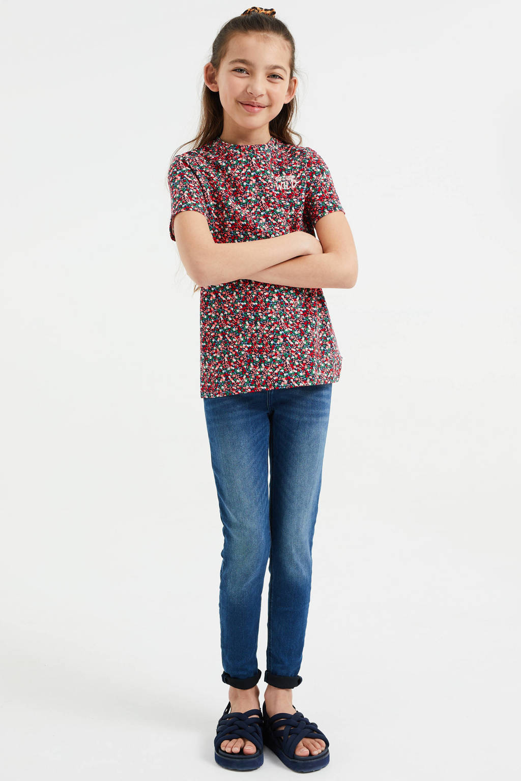 WE Fashion T-shirt - set van 2 kaki groen/roze, Kaki groen/roze