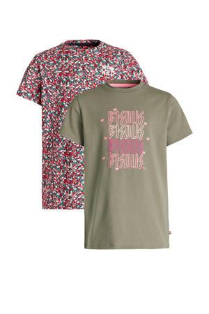 T-shirt - set van 2 kaki groen/roze