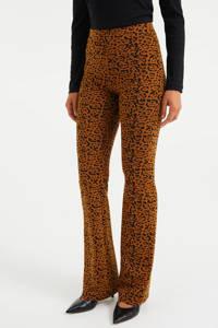 WE Fashion flared broek met dierenprint dark cognac, Dark cognac