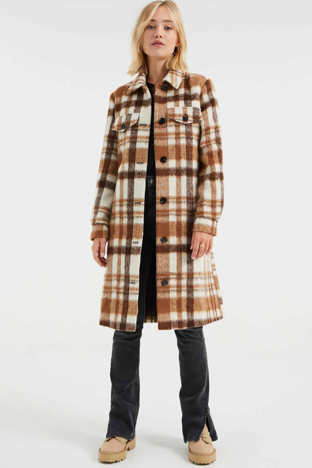 WE Fashion geruite shacket bruin/ecru, Bruin/ecru