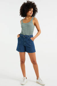 WE Fashion Blue Ridge high waist jeans short blauw, Blauw