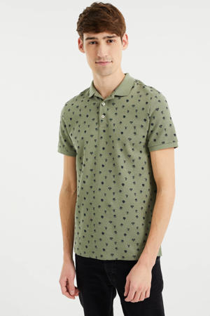 slim fit polo met all over print faded leave