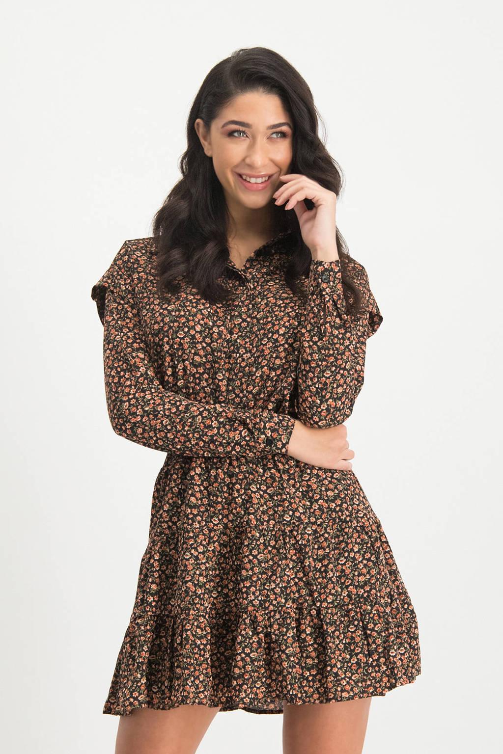 Lofty Manner gebloemde blouse Hazel zwart, Zwart