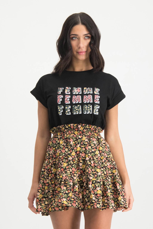 Lofty Manner T-shirt Daria met tekst zwart, Zwart