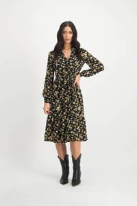 Lofty Manner gebloemde blousejurk Ellis zwart/ geel, Zwart/ geel