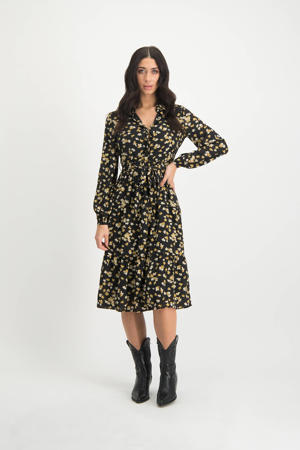 gebloemde blousejurk Ellis zwart/ geel